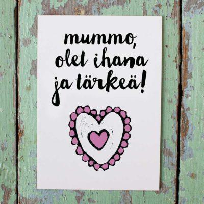 Kultamurunen mummo-kortti