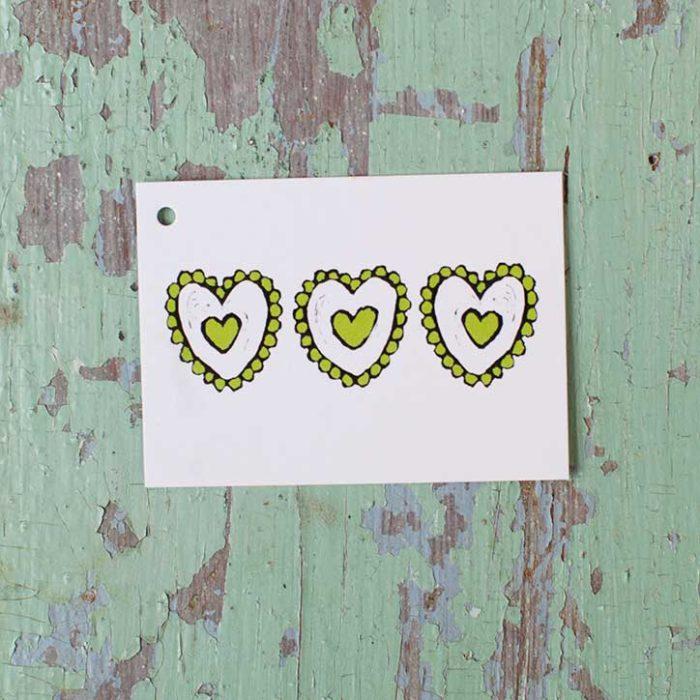 Kultamurunen Vihreät sydämet -pakettikortti